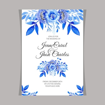 ウェディング招待状、水彩、青、花