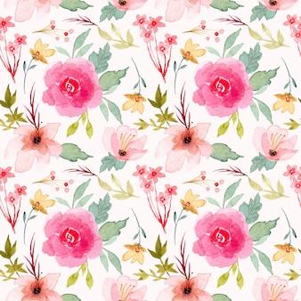 Розовый цветок акварель бесшовный фон