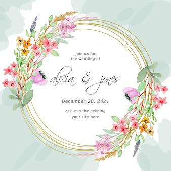 Сохранить дату. свадебная рамка-приглашение с цветочной акварелью