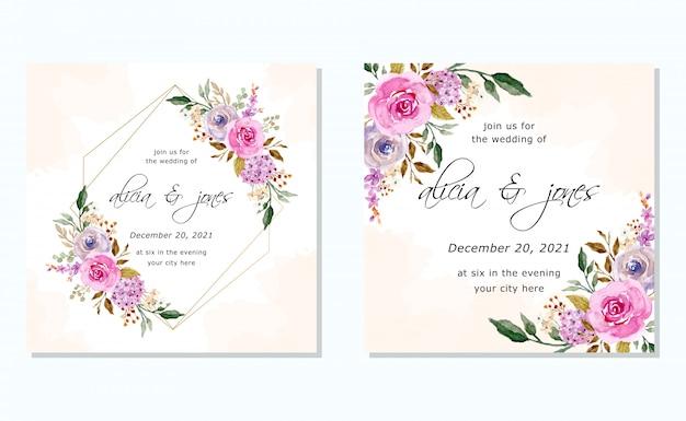 Свадебное приглашение с акварельной цветочной