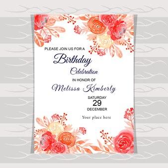水彩画の花の誕生日の招待状