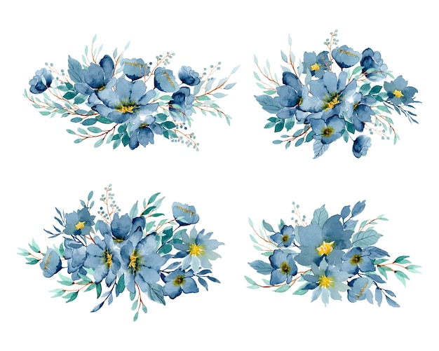 Синяя цветочная композиция акварели индиго