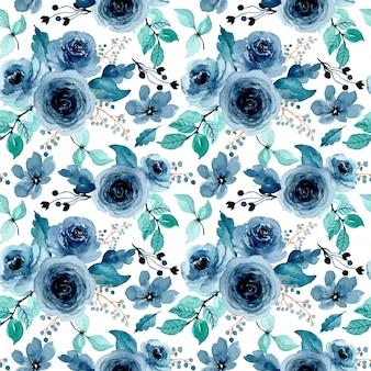 Зеленый индиго цветочные акварели бесшовный фон