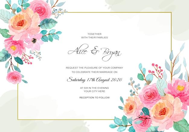 日付を保存。花の水彩画と結婚式のテンプレート