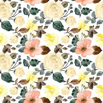 黄色の花の水彩画のシームレスパターン