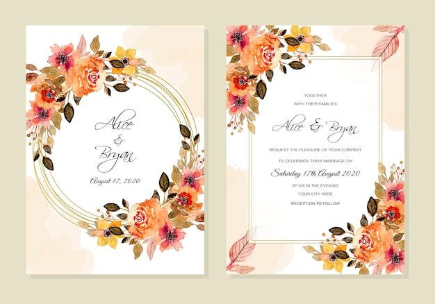 Шаблон свадебного приглашения с винтажной цветочной акварелью