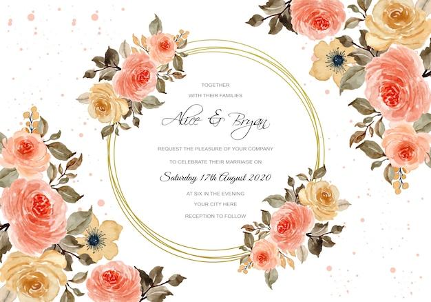 Свадебный шаблон с винтажной цветочной акварелью