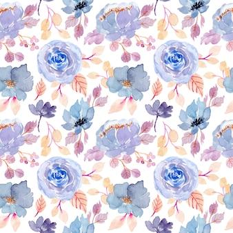 Синий цветок акварель бесшовный фон