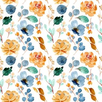 カラフルな花水彩シームレスパターン