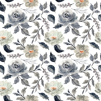 灰色の花の水彩画のシームレスパターン