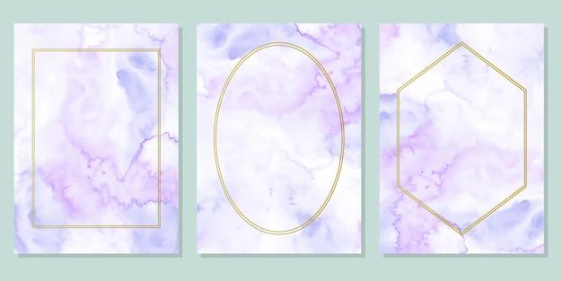 Синий фиолетовый акварельный абстрактный фон с золотой рамкой