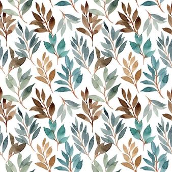 緑茶色水彩葉シームレスパターン