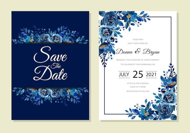 Красивая свадебная пригласительная открытка с синей цветочной акварелью