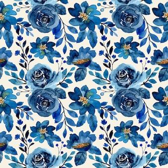 Синий акварельный цветочный бесшовный фон