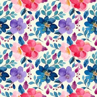 花のシームレスなパターンとカラフルな水彩