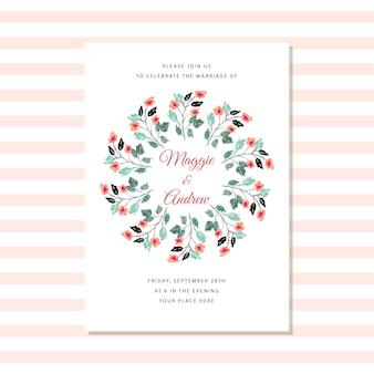 水彩画の花輪付き結婚式招待状