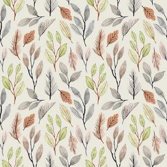 シームレスな葉水彩パターン