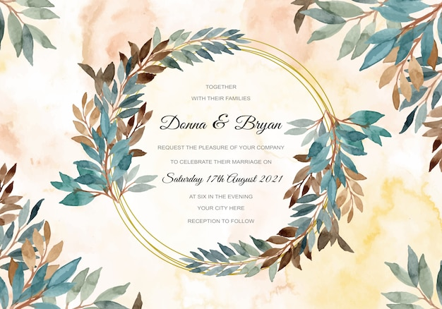 Свадебное приглашение с зеленой акварелью оставляет венок абстрактный фон
