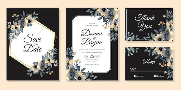 水彩花入り結婚式の招待カード