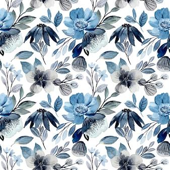 Мягкий синий цветочный акварельный бесшовный фон