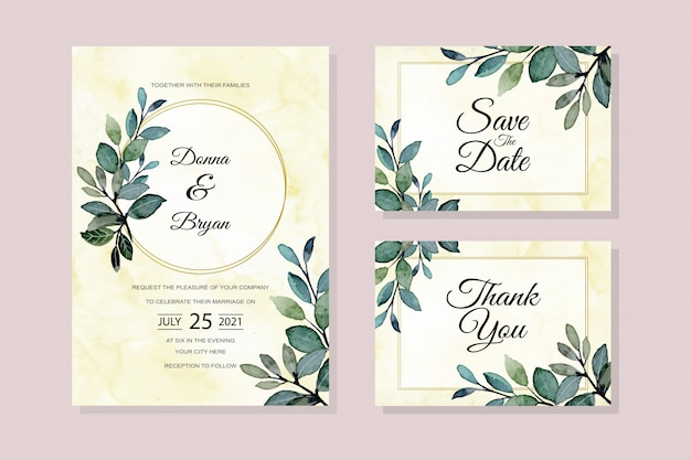 緑の葉の水彩画で結婚式の招待カード
