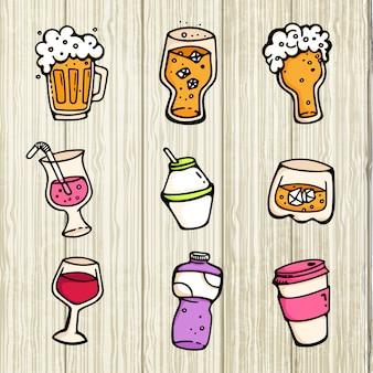 ビールアルコールワインかわいい漫画飲料ガラスとマグカップコレクションセット