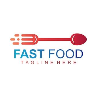ファーストフードのロゴ、食べ物のサインのベクトルロゴ、カトラリーの矢印ロゴ