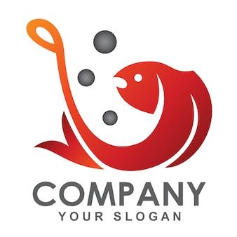 Рыбалка шаблон логотипа