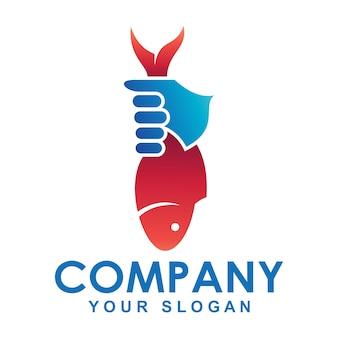 魚を持っている手のロゴ