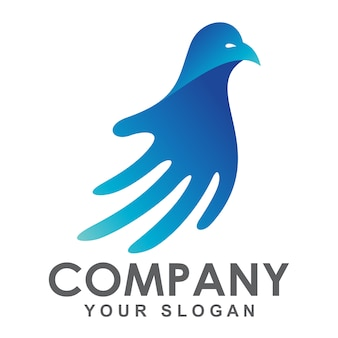 Логотип руки и птицы