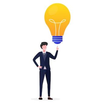 起業家のイラストが明るいアイデアを得る