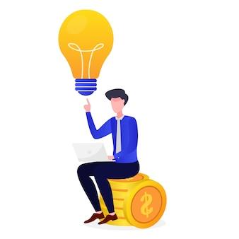 起業家は金持ちであるという明るい考えを得る