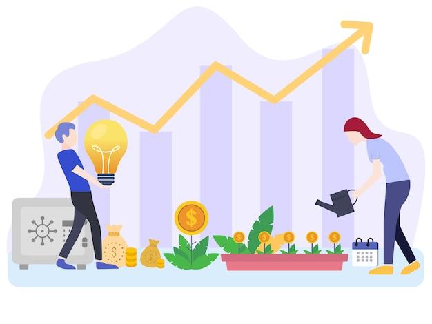 Инвестиционные векторные иллюстрации концепций с персонажами