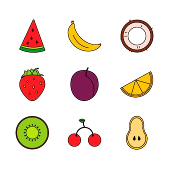 明るくモダンなラインアートフルーツ、どんな目的にも最適です。有機健康食品
