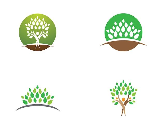 緑の葉エコロジー自然の要素ベクトルアイコンのロゴ
