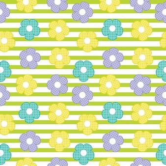シアン、黄色、紫色の花ストライプの背景にシームレスなパターン