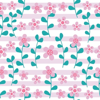 ピンクの花とシアンの葉は、ピンクのストライプの背景にシームレスなパターン