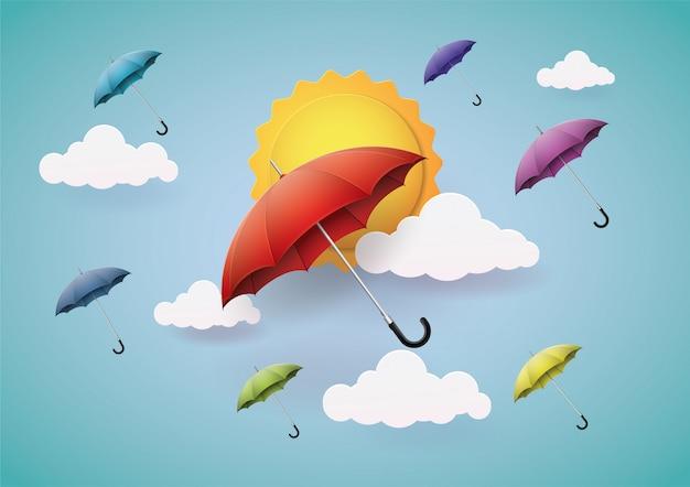 Много красивых, красочных зонтиков.