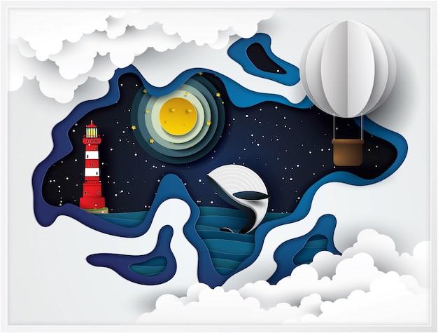灯台と海のクジラ、ペーパークラフトのスタイル。