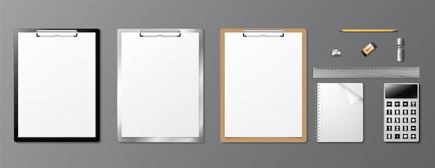 現実的なコーポレートアイデンティティのデザイン本とクリップボード。
