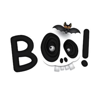 Счастливый хэллоуин белый череп чудовищные глаза