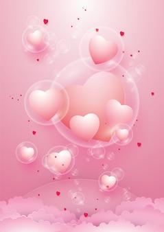 Красивые сердца в пузырь и день святого валентина.