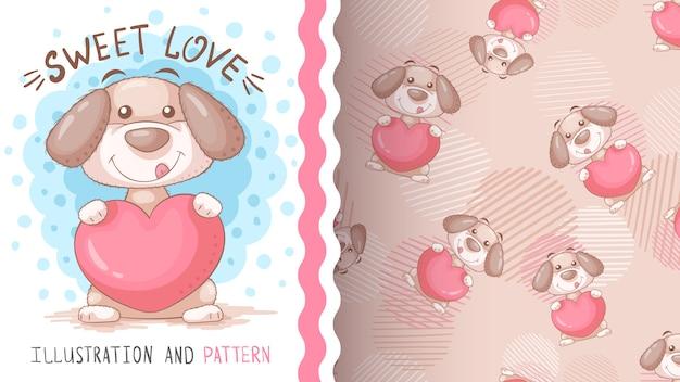 ハート-シームレスなパターンを持つ犬
