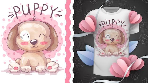 Милый щенок - идея для печати футболки