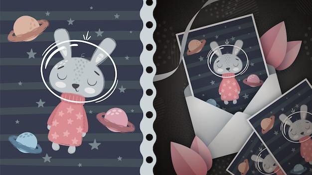 宇宙うさぎ-グリーティングカードのアイデア