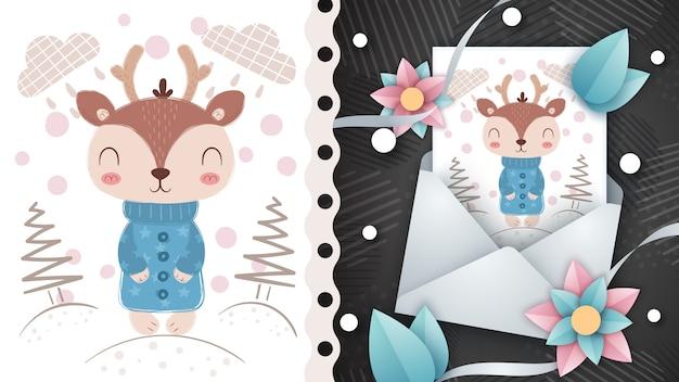 冬の鹿-グリーティングカードのアイデア