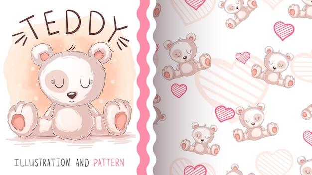 かわいいシロクマ-シームレスパターン
