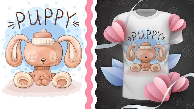 Акварельная плюшевая собака - идея для футболки с принтом