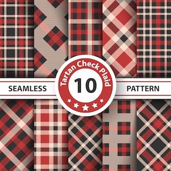 メリークリスマスチェック格子縞のシームレスパターン