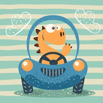 かわいいディノは面白い車を運転する。